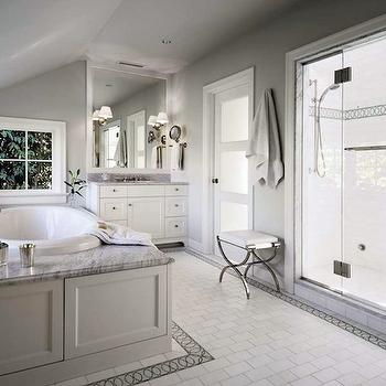 White and Gray Bathroom, Traditional, bathroom, Toth Construction