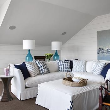 White Slipcovered Sectional, Cottage, living room, Southern Living