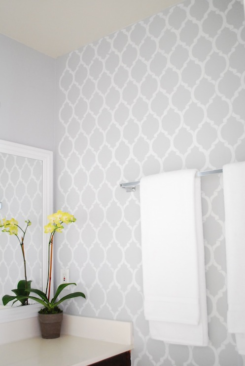 Quatrefoil wall stencil contemporary bathroom for Gray bathroom wallpaper