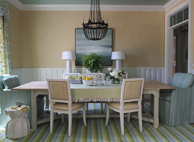 blue and green cottage dining room - cottage - dining room