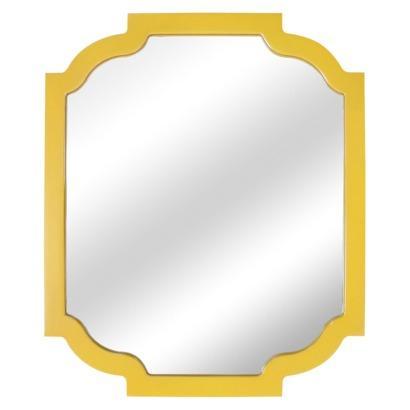 Threshold Yellow Wood Frame Wall Mirror