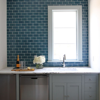 Blue Subway Tile, Contemporary, kitchen, Andrew Howard interior Design