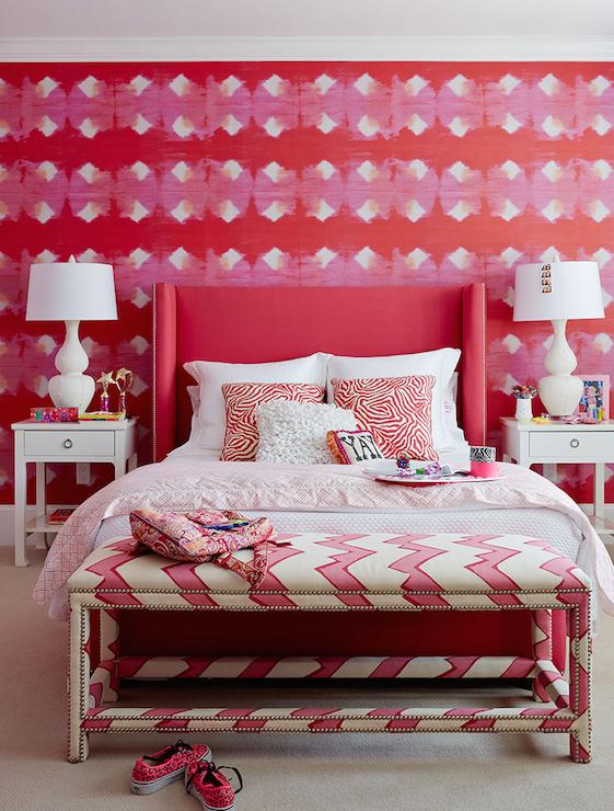 Pink Chevron Bench, Contemporary, girl's room, Andrew Howard interior Design
