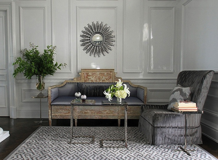 gray fretwork rug contemporary living room andrew
