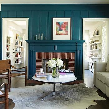 Teal Fireplace, Eclectic, living room, Simo Design