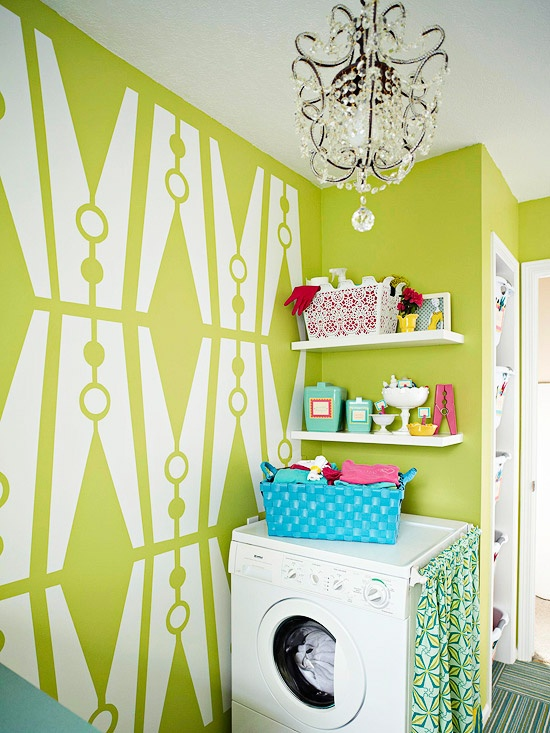 Green and Blue laundry Room - Eclectic - laundry room - BHG