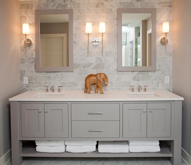 Gray Double Vanity - Contemporary - bathroom - Refined LLC