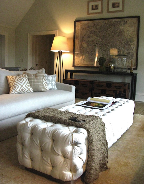 White Velvet Tufted Ottoman Transitional Living Room
