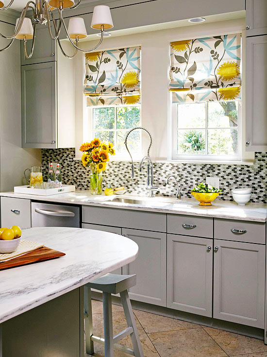 Gray and yellow kitchen contemporary kitchen bhg for Yellow and gray kitchen