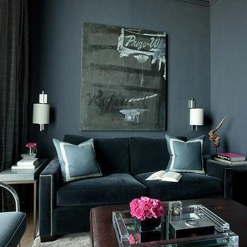 James Thomas Chicago Blue Velvet Sofa
