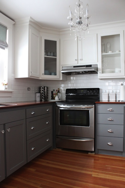Gray kitchen cabinet paint colors transitional kitchen for Kitchen cabinets 2 tone