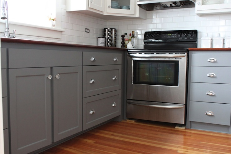 Kitchen Features Lower Cabinets Painted Gray Benjamin Moore Whale Gray