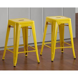 Swell Tabouret 24 Inch Lemon Metal Counter Stools Set Of 2 Dailytribune Chair Design For Home Dailytribuneorg