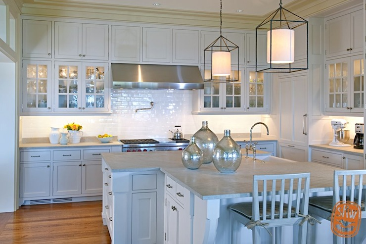View Full Size. Stunning Kitchen With Pale Blue Cabinets ...