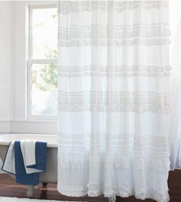 Organic Cotton Ruffled Shower Curtain I VivaTerra