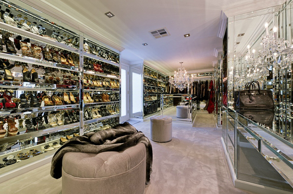 Mirrored Shoe Shelves Contemporary Closet