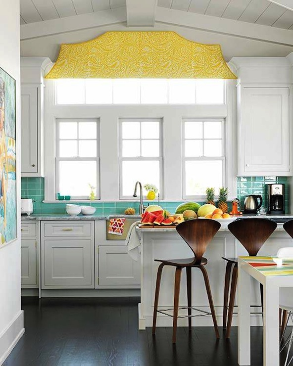 excellent white kitchen yellow accents | Turquoise and Yellow Kitchen - Contemporary - kitchen ...