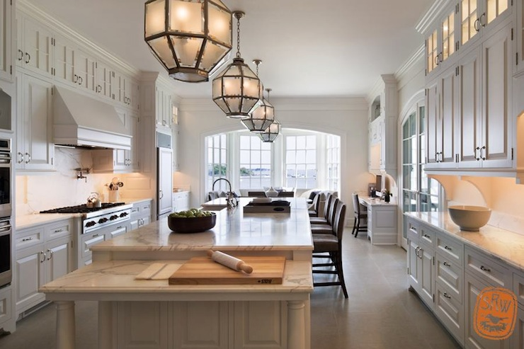Long Kitchen Island - Transitional - kitchen - Shope Reno ...