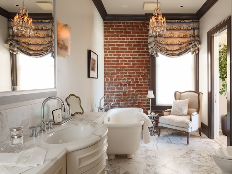 French Bathroom With Exposed Brick Wall Espresso Crown Moldings And
