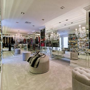 Mirrored Walk In Closet, Contemporary, closet