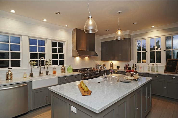 View Full Size. Amazing Gray Kitchen With Gray Cabinets Paired With Carrara  Marble ...