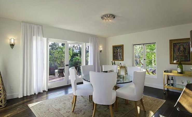 White Dining Chairs Mediterranean Dining Room
