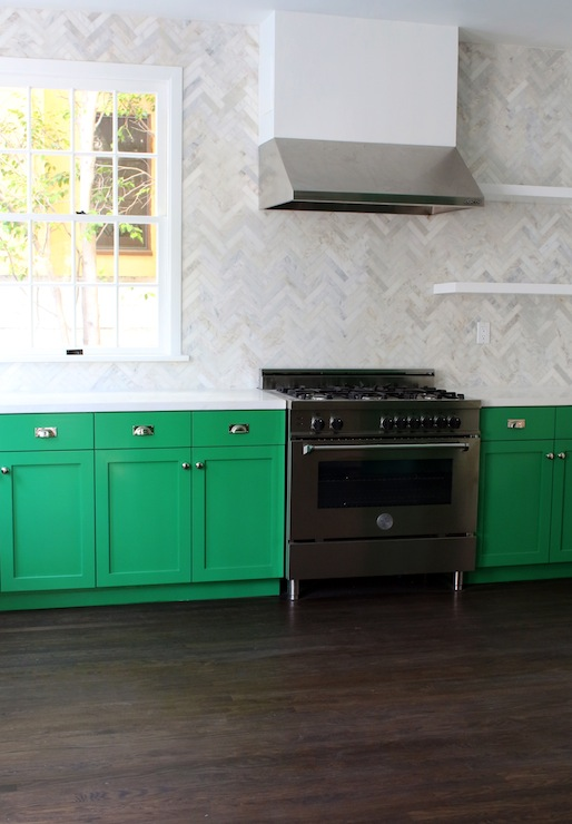 Green Kitchen Cabinets View Full Size