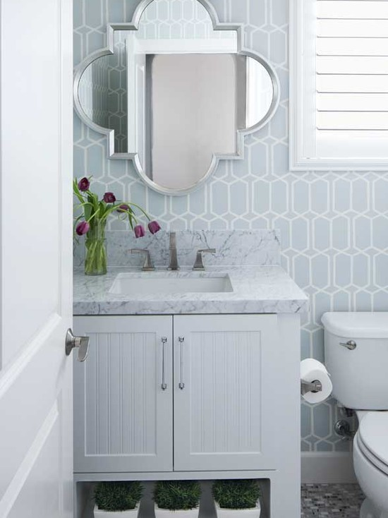 Quatrefoil Mirror Contemporary Bathroom Cecy J Interiors