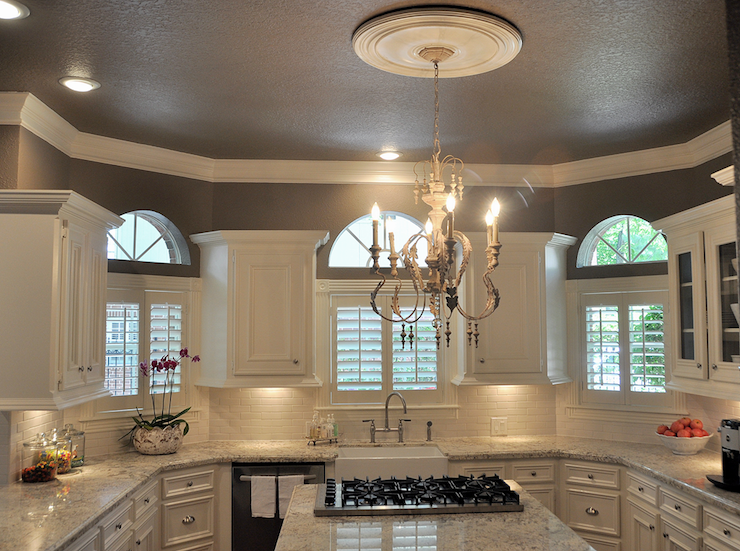 Painted Silk Kitchen Cabinets And Cream Wall Tiles Backsplash