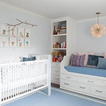 Nursery Daybed, Contemporary, nursery, Benjamin Moore First Snowfall, Kishani Perera