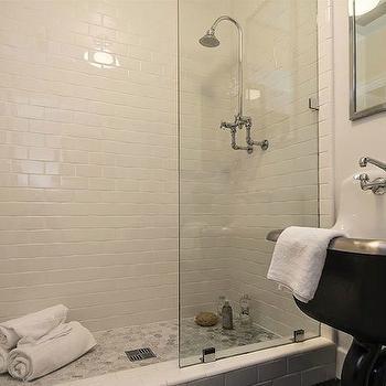 Subway Tile Shower, Contemporary, bathroom, Kishani Perera