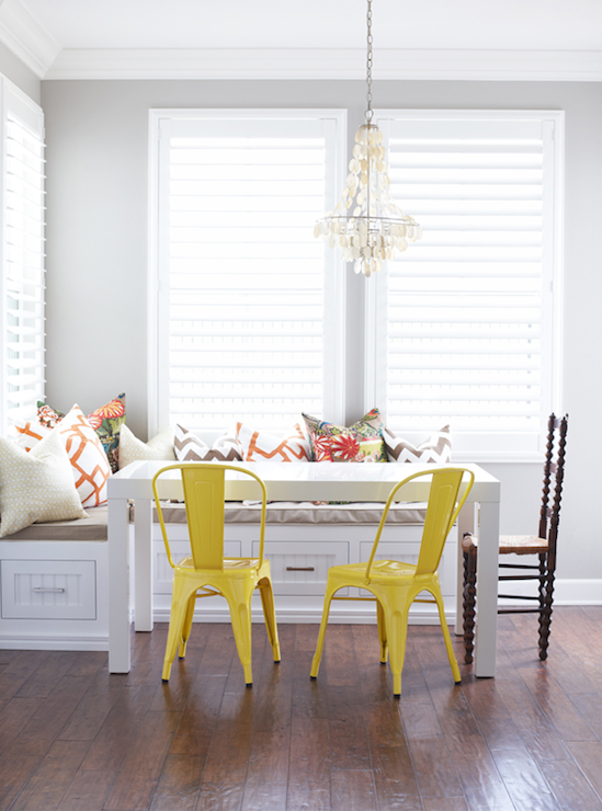 Yellow Tolix Chairs Contemporary dining room Cecy J Interiors