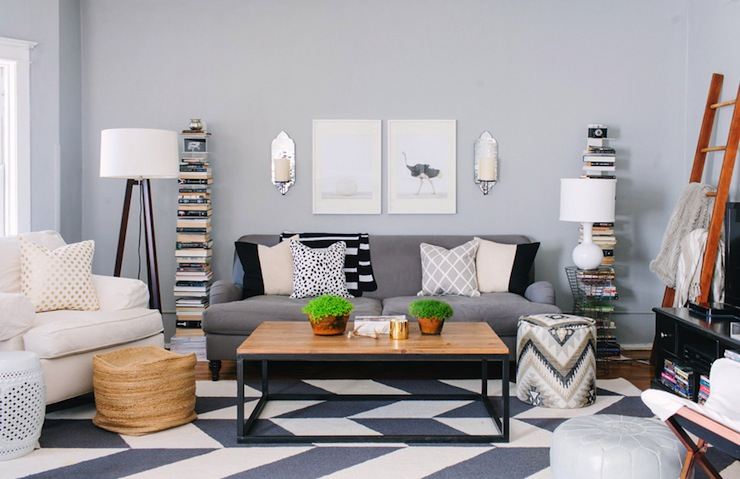 Gray Chevron Rug Contemporary Living Room Behr Classic Silver The Every Girl