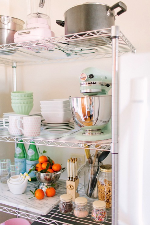 Alaina Veronica Kaczmarski Home   KItchen With Target Room Essentials  Chrome 5 Tier Shelving Unit Filled With KItchenAid Pistachio Stand Mixer,  ...