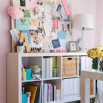 Ikea Expedit, Contemporary, den/library/office, Farrow & Ball Middleton Pink, The Every Girl