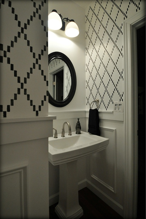 imperial trellis stencil contemporary bathroom
