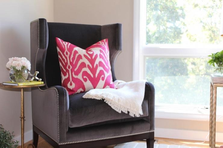 Gray Velvet Wingback Chair View Full Size
