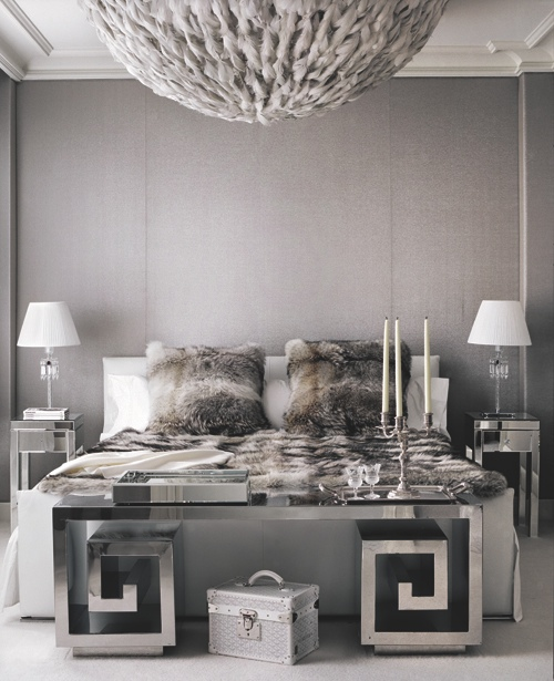 Mirrored greek key bench contemporary bedroom andrew for Greek bedroom designs