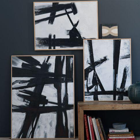 Abstract black white wall art west elm