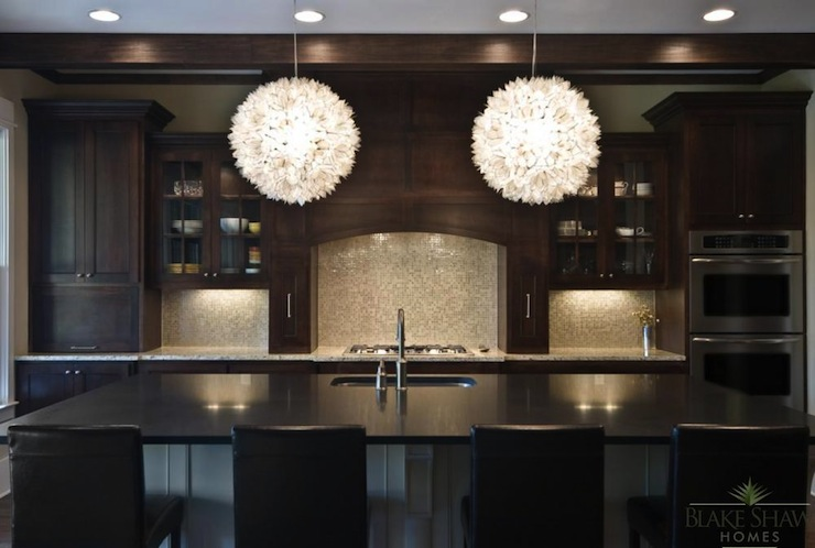 Backsplash Ideas For Espresso Cabinets Part - 43: View Full Size. Traditional Style Kitchen With Dark Espresso Stained  Cabinetry And Mini Mosaic Backsplash ...