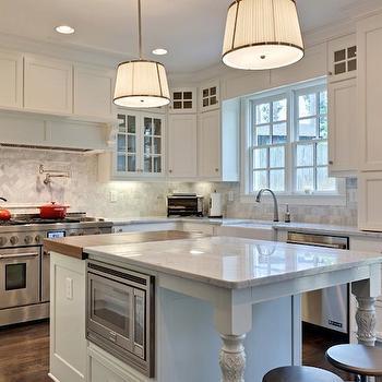 Robert Abbey Chase Pendant, Transitional, kitchen, Benjamin Moore White Dove, Blake Shaw Homes