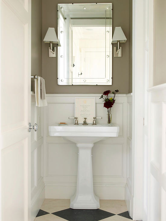 taupe wainscoting transitional bathroom