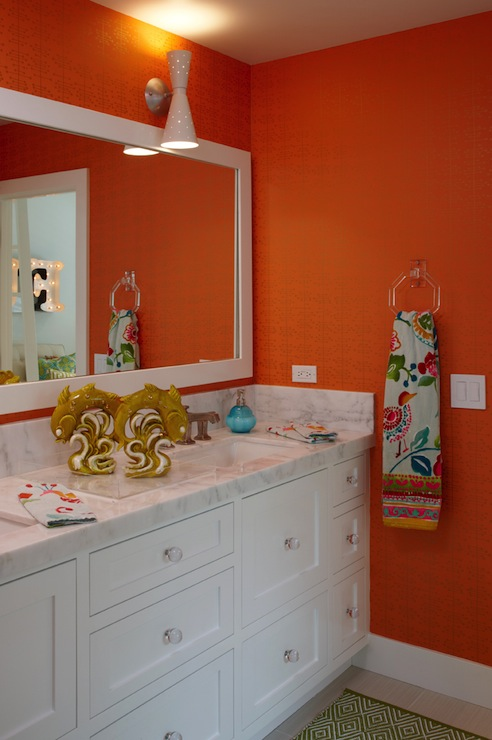 orange grasscloth wallpaper contemporary bathroom k mathiesen