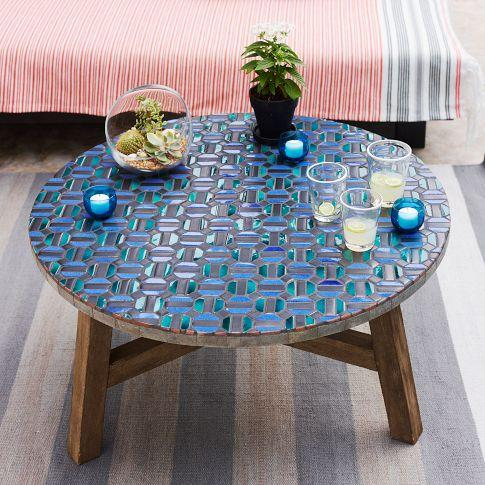 Mosaic Tiled Bistro Table Aqua Glass West Elm