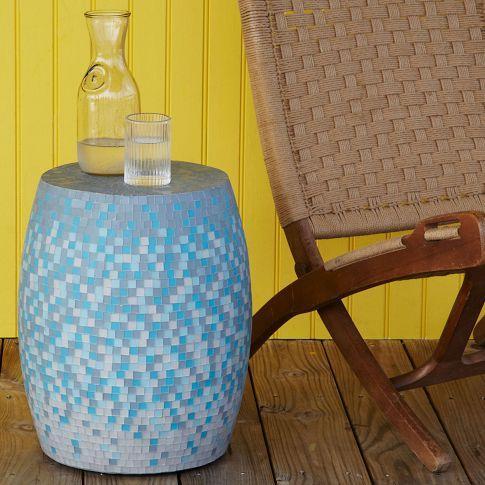Mosaic Tiled Drum Side Table West Elm - West elm drum table