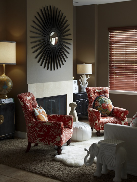 Taupe And Red Living Room Contemporary Living Room K Mathiesen Brown Design