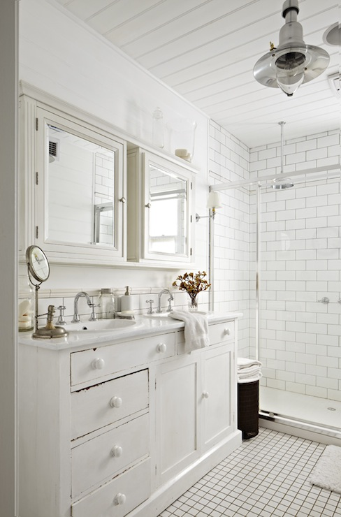 Interior Cottage Bathroom cottage bathroom design ideas white with side by mirrored medicine cabinets over whitewashed double vanity and marble countertops