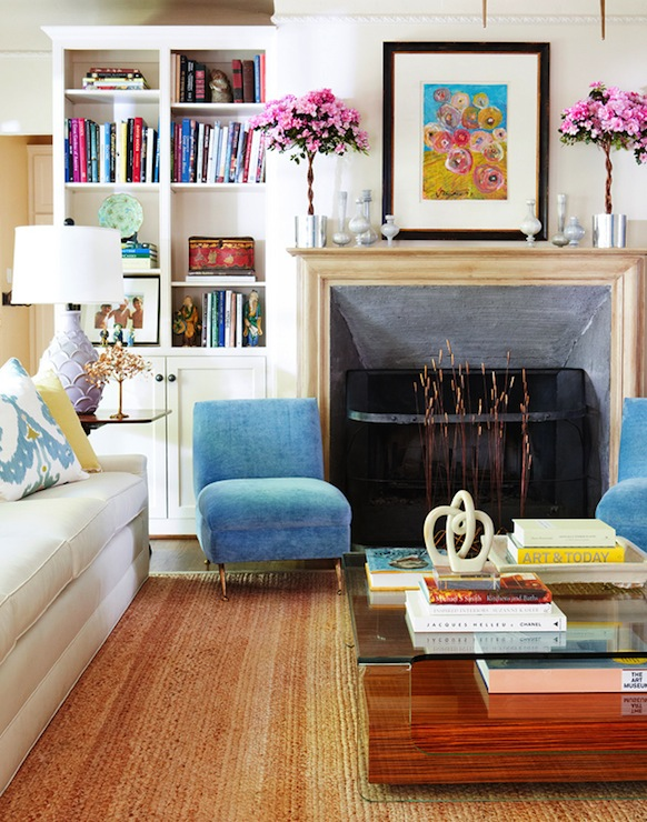 Blue slipper chairs contemporary living room d magazine for Magazine living room ideas