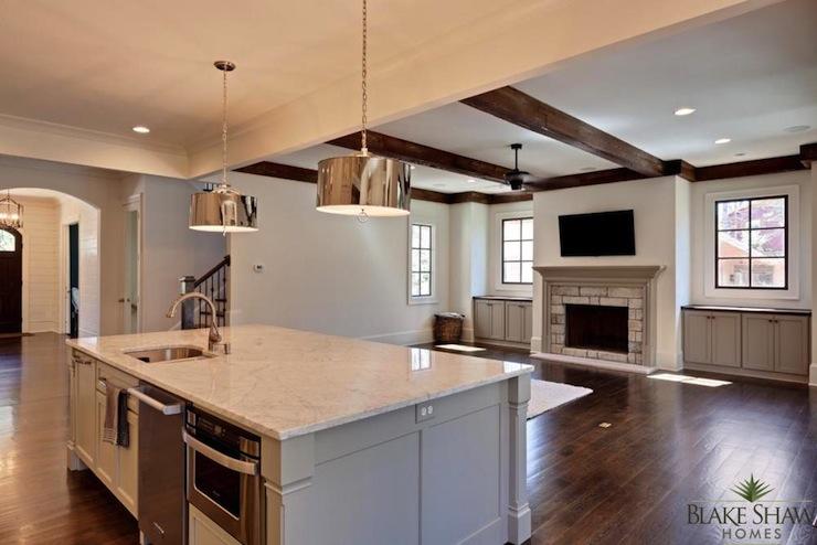 Robert abbey porter pendant transitional kitchen - Open kitchen floor plans with islands ...