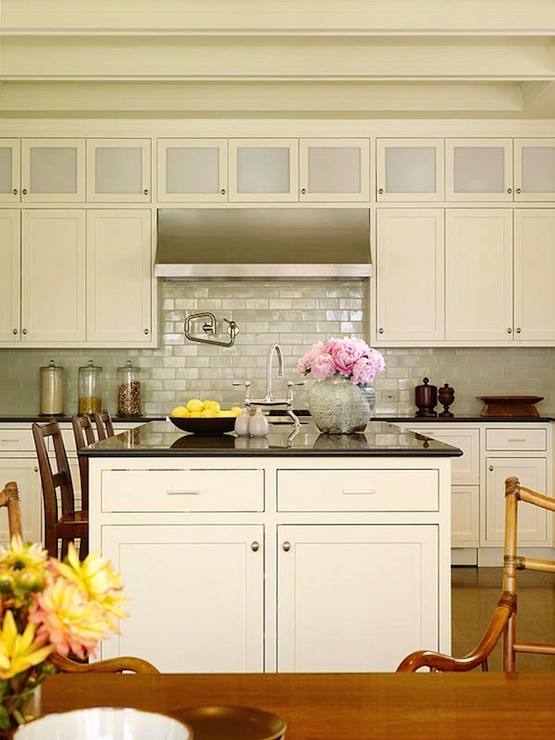 Iridescent Backsplash Cottage Kitchen Christine Markatos Design